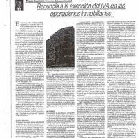 Renuncia a la exención del IVA en operaciones inmobiliarias