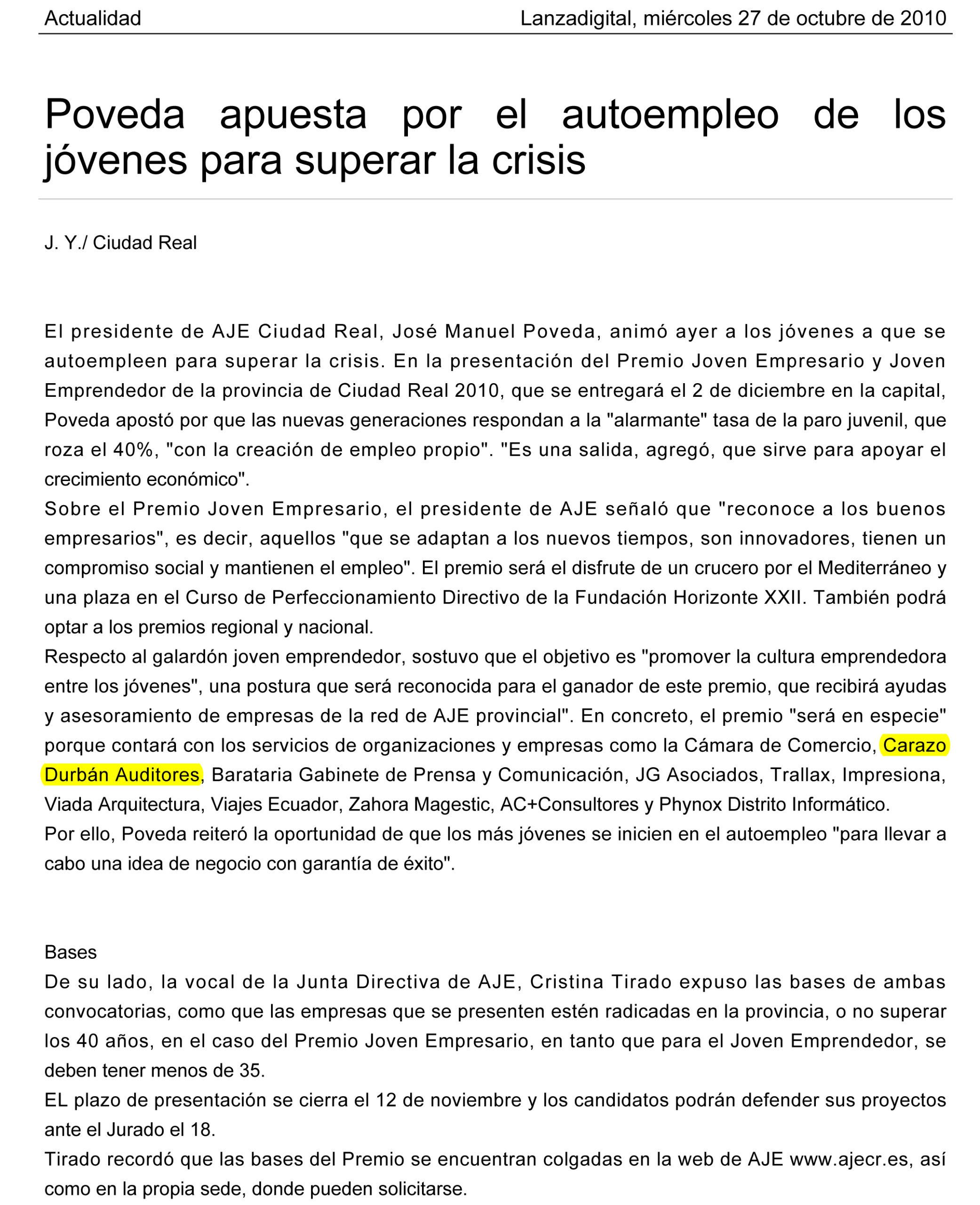 Premio Joven Empresario 2010 Aje Ciudad Real